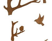 Birds and Feather Mobile - Bird Wooden Mobile - Wood Bird Mobile