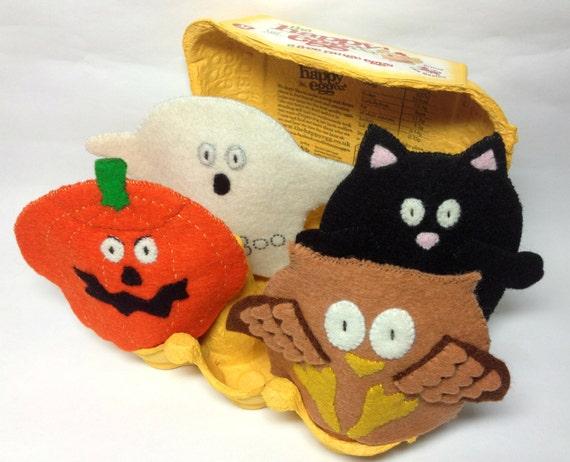 OOAK Egg Cosy Set Wool Felt Halloween pumpkin owl cat ghost
