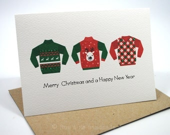 Christmas Card - 3 Ugly Christmas Jumpers - XMS025 - Sweaters Green and Red
