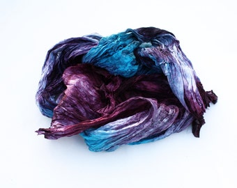 silk scarf - Glamorous storm -  purple, black, turquoise, blue silk scarf.