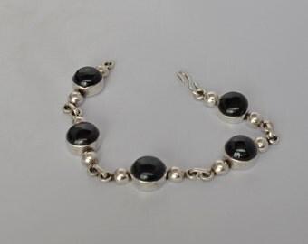 Vintage STERLING Silver Bracelet Onyx Cabochons