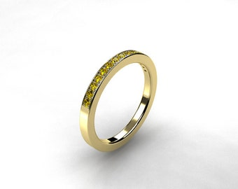 Yellow diamond ring, wedding band, yellow gold, eternity ring, micro pave, diamond wedding, yellow wedding, yellow diamond
