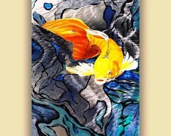 Metal Koi Fish Metal Art Print, Koi Aluminum Giclee Art Print, Unique Koi Fine Art Painting, Original Oil Painting, Asian Inspired Art