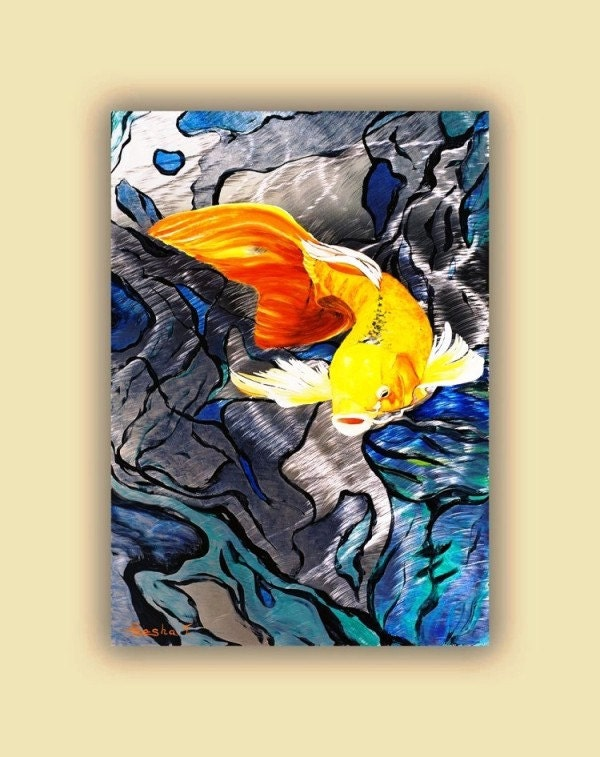 Metal koi fish metal art print koi aluminum giclee art print for Koi fish metal art