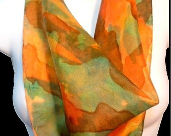 """Mango Tango/ Orange/ Green/SILK SCARF. Hand Painted by NYC Artist Joan Reese/ Silk Square Scarf/100% Silk/21""""x21""""/""""One of a kind"""""""