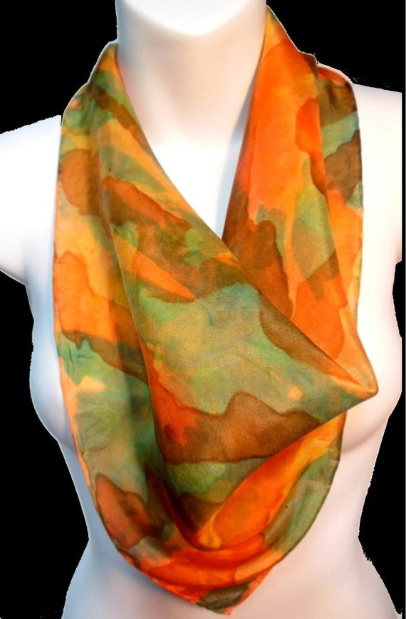 "Mango Tango/ Orange/ Green/SILK SCARF. Hand Painted by NYC Artist Joan Reese/ Silk Square Scarf/100% Silk/21""x21""/""One of a kind"""