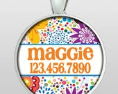 Pet ID Tag - Dog Tag - Dog ID Tag - Mod Flowers - Bright Floral Pattern - Gifts Under 10 - Gifts for Dogs - Design No. 217