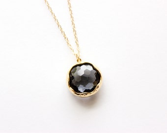 Gold Necklace - Stone Necklace - Long Necklace - Large Charcoal Grey Faceted Glass Stone Pendant on Matte Gold Chain