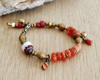 carnelian bracelet - bohemian bracelet - yoga jewelry - ethnic bracelet - gypsy bracelet