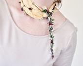 Purple Cream Flowers Needle Lacework Oya Pale Yellow Wrinkled Foulard Jewelry Scarf Beadwork Crochet ReddApple, Fast Delivery