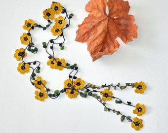 Beaded Crochet Necklace, Mustard Flowers Lariat Necklace, Oya Beadwork Necklace, Boho Beaded Jewellery, Crochet Jewelry, ReddApple