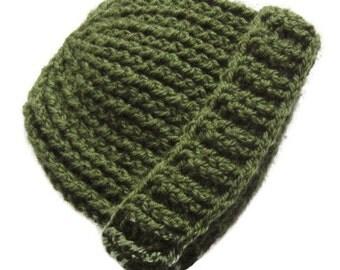 Baby Hat * 0 - 9 months * Moss Green Camo Military * Crochet * Handmade in Ireland