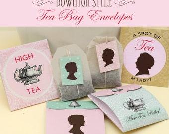 Printable Downton Style Tea Bag Envelopes Instant Download