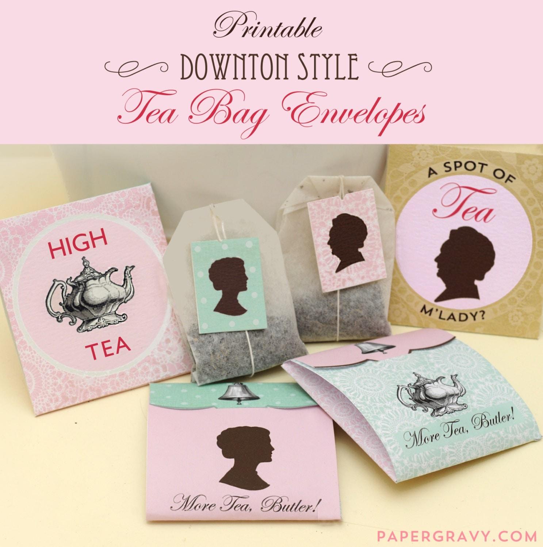 printable downton style tea bag envelopes instant download. Black Bedroom Furniture Sets. Home Design Ideas