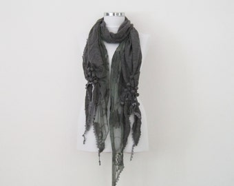 Gray knit fabric scarf, tulle scarf, frilly scarf, fashion scarves, gift for her