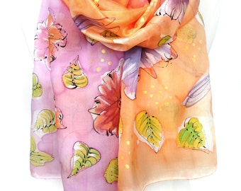 Orange Pink Scarf. Hand Painted Silk Shawl. Whimsical Scarf. Butterflies Dragonflies Shawl. Gift for Her. 18x71 in.  MADE to Order