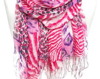 Animal Print Shawl. Pink Shawl. Cotton Scarf. Leopard Scarf. Zebra Scarf. Fashion Scarf. Woman Birthday Gift. 27x65in (70x165cm) Ready2Ship
