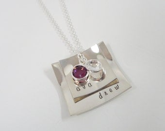Hand Stamped Layered Square Necklace - Mommy Jewelry - Sterling Silver Personalized Jewelry