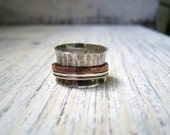 Rustic Mixed Metal Spinner Ring Fidget Fiddle Worry Wide Band Mens Womens Wedding Prayer Ring Hammered Sterling Silver Copper 14KGF