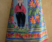 Little Fisherman embroidery, Anokhi block printed cloth, A-line skirt, flowers, fully lined, red blue green yellow, size Medium
