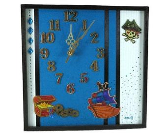 Unique Wall Clock, Blue Wall Art, Pirate Theme Decor, Nursery Bedroom Decor, Boys Girl Birthday, Christmas Gift, Australia