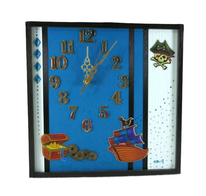 Unique Wall Decor For Nursery : Unique wall clock blue art pirate theme decor nursery