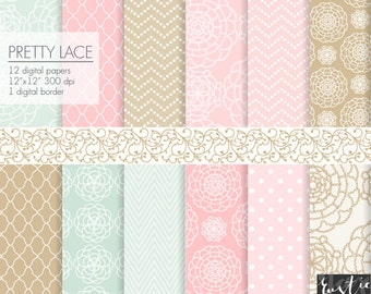Lace digital background paper. Pink, mint, sand beige wedding digital paper with lace, dotty chevron, tiles and polka dot patterns 12x12 PNG