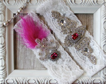 Customizable Wedding garter - Vintage Garter Set, Wedding Garter Set, Crystal Garter Set, Feather Garter, Prom, Prom Garter, Custom Garter