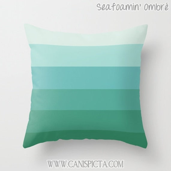OMBRE Throw Pillow 16x16 Graphic Print Cover Couch Art Home Decor Geometric Seafoam Teal Blue Green Aqua Turquoise Beach Ocean Mint Tiffany