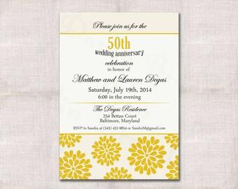 Wedding Anniversary Party Invitation Custom Printable 5x7
