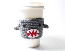 Coffee Cozy Shark, Shark Week Coffee Sleeve, Animal Can Holder, Crochet Drink Cup Holder, Sharknado Java Jacket