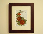 Original Pressed Flower Art / Floral Design / Oshibana / Mixed Media / Framed Art 8 x10