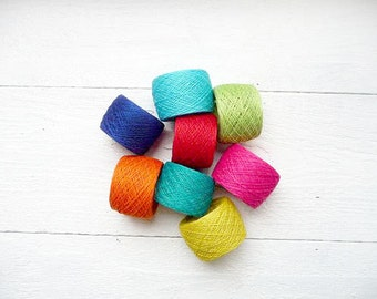 Bright mix of linen YARN  - neon hot pink turquoise orange green - 10 size crochet thread