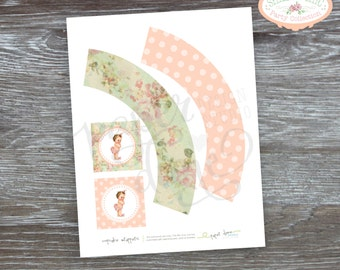 """INSTANT DOWNLOAD - Printable Cupcake Wrappers with 2"""" party circles - Shabby Chic, Vintage, Birthday, Shower, girl - PDF File, You Print"""