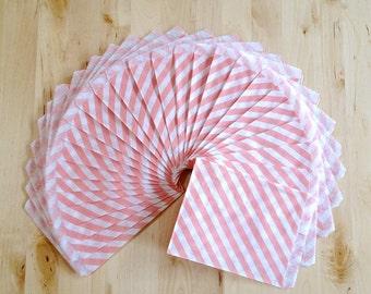 25 Light Pink Diagonal Stripe Paper Treat Bags - Party Favor Bags - Party Supplies