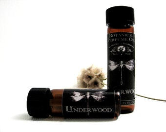 Botanical Perfume Oil. Underwood- Fir, White Cypress, Hiba Wood, Wildflowers & Myrrh. Woody Natural Perfume Oil. Organic Essential Oils.