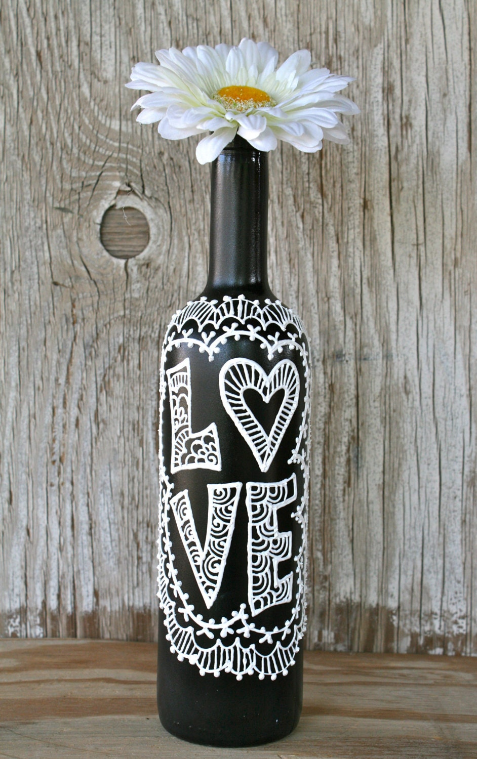 Painted wine bottle love black and white wedding for Painted wine bottles