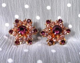 Vintage Coro Purple and Pink Prong Set Rhinestone Earrings