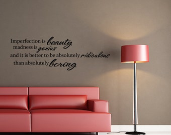 IMPERFECTION IS BEAUTY... Marilyn Monroe Vinyl Wall Decal Quotes Home Wall Sticker Decor (V15)