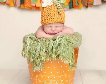 Pumpkin crochet hat for newborn girls, crochet pumpkin hat, newborn Fall photo prop