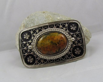 Western Belt Buckle -Natural Stone Belt Buckle -Cowboy Belt Buckle - Silver Tone and Black Belt Buckle with a Rainbow Agate Stone