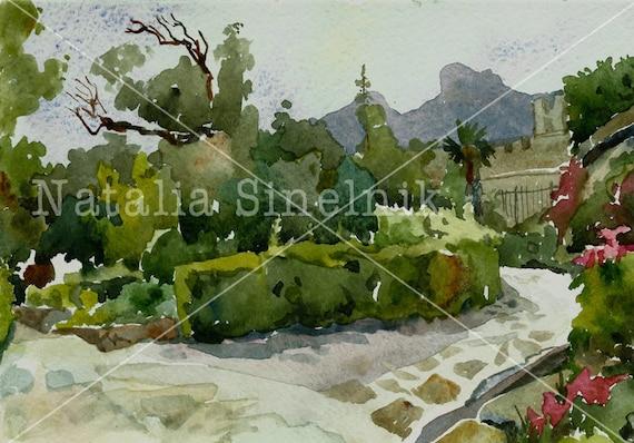 Old park with cobblestones digital download from original watercolor summer landscape