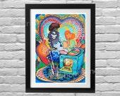 Mexican Kitchen Catrina Art Print. Day of the Dead Cook Wall Art. Cinco de Mayo Skeleton Pin Up Rockabilly decor. Trippy Bones Nelson art
