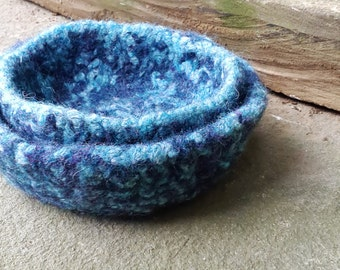 Felted Wool Nesting Bowl Duo Set: Hand Knit and Felted Vibrant Two Tone Blue Textured Rustic Wool Nesting Bowls