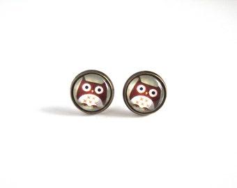 12mm Cute Owl Earrings, Owl Stud Earrings, Bird Jewelry, Cute Owl Jewelry, Little Bird Earrings, Little Owl Earrings Mini Bird Stud Earrings