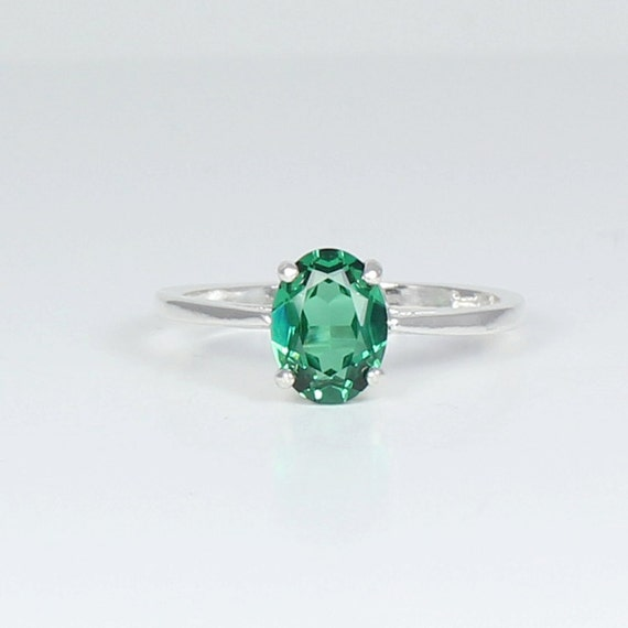 emerald sterling silver ring emerald silver ring