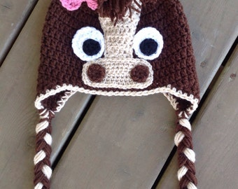 Crochet Horse Hat, Baby Crochet Hat, Photo Prop, Horse Hat, Crocheted Hats For Kids, Newborn Hats, Toddler Horse Hat