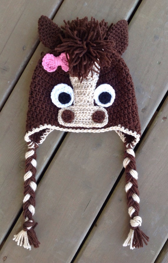 Free Crochet Pattern For Horse Hat : Items similar to Horse Hat, Baby Crochet Hat, Newborn ...