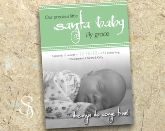 Christmas baby announcement photo card DIY