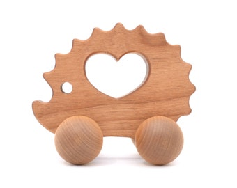 Organic Wooden Toy - Waldorf Wood Animal Toy -  Natural Hedgehog Push Toy for Babies and Toddlers - Montessori Inspired Eco-Friendly Play